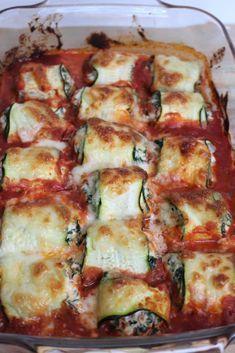 Koolhydraatarm - Courgetterolletjes met ricotta en spinazie #gezondeten