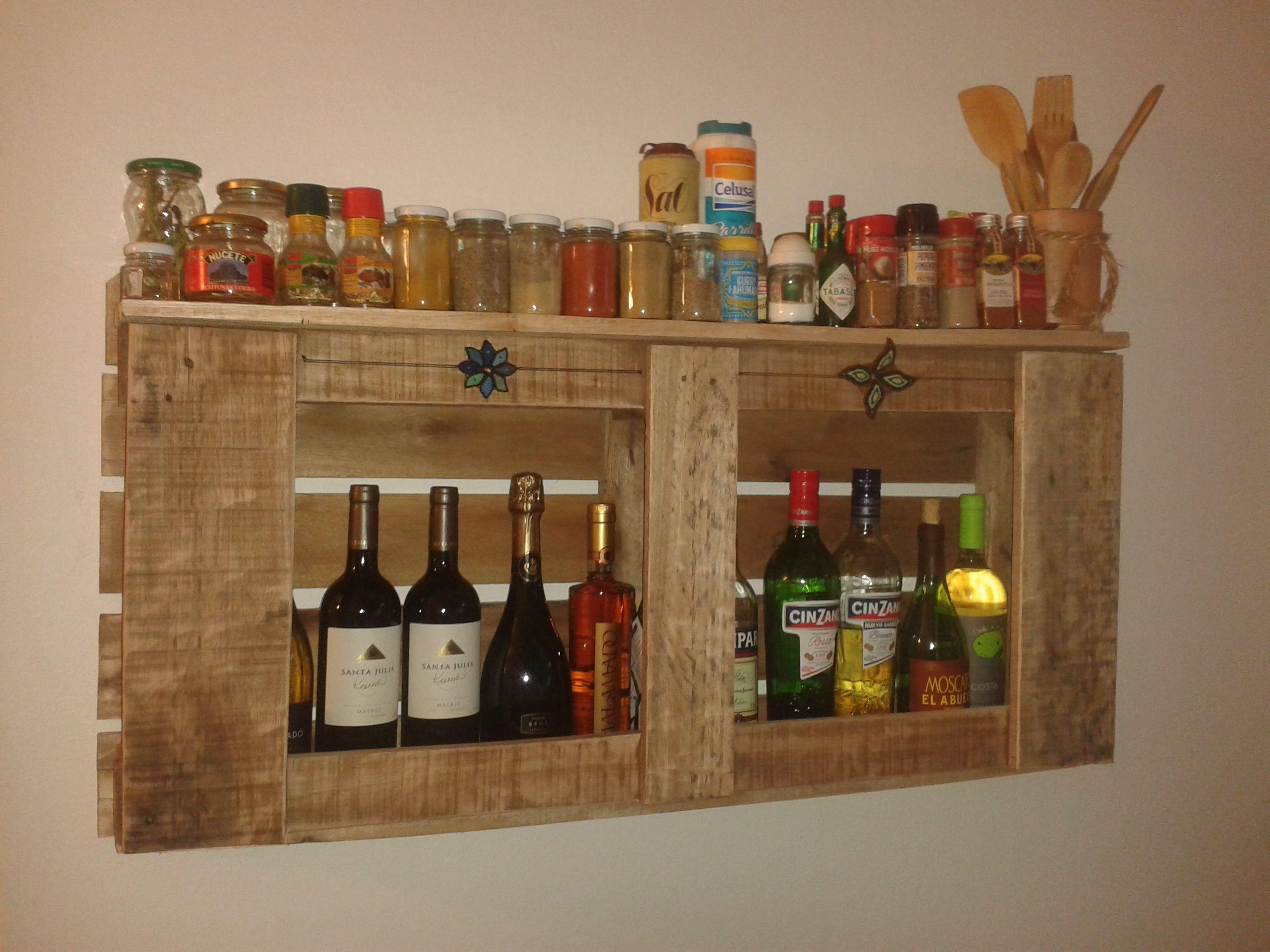 Especiero Botellero Hecho Con Pallet Muebles Cocina Pinterest  # Muebles Botelleros