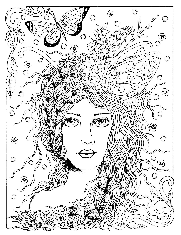digital book fairy hair digi coloring