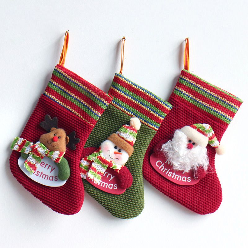 31d9c4daf1f Handmade Cute Christmas Tree Pendant Socks Decoration Sacks Candy Gifts  Holders Bags for Kids Home Party Ornaments 20cmx13cm