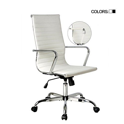 Elecwish Adjustable Office Executive Swivel Chair High Back Padded Tall Ribbed Pu Leather Wheels Arm Rest Compute Office Chair Adjustable Office Chair Chair