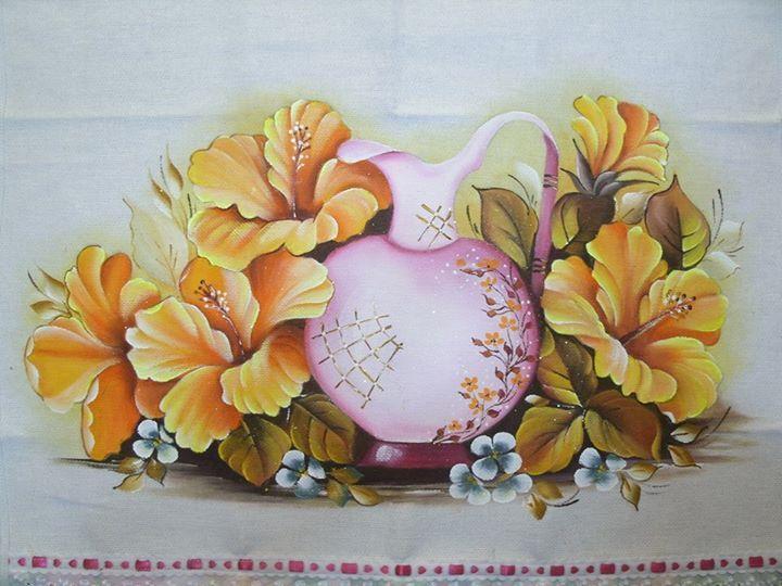 Hibiscos amarelos pintura em tecido - Decorarte pinturas ...