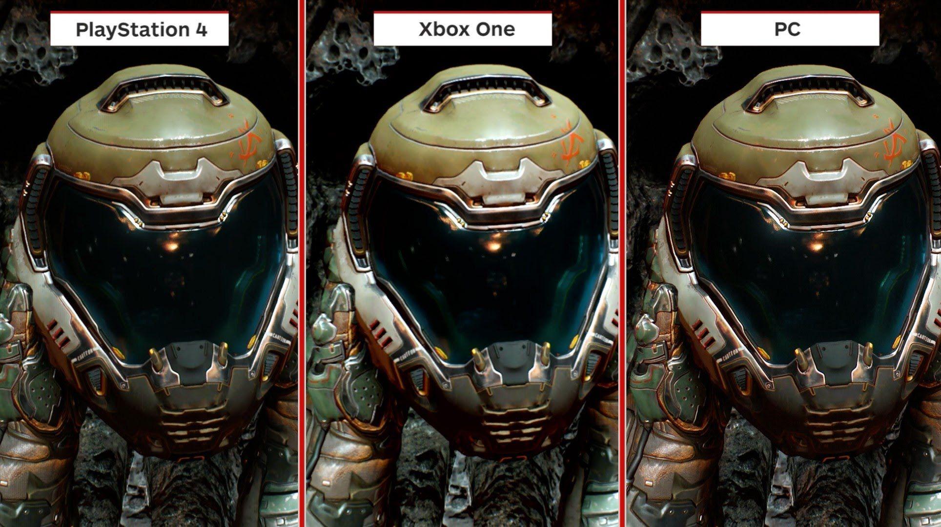 Doom Graphics Comparison Pc Vs Xbox One Vs Ps4 Hub Youtube Xbox One Xbox Doom
