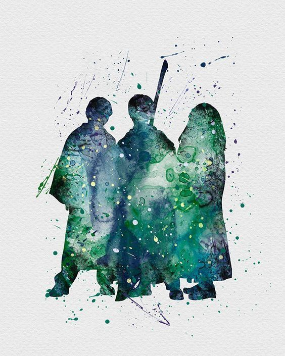 Watercolour Of The Golden Trio Harry Potter Wallpaper Harry
