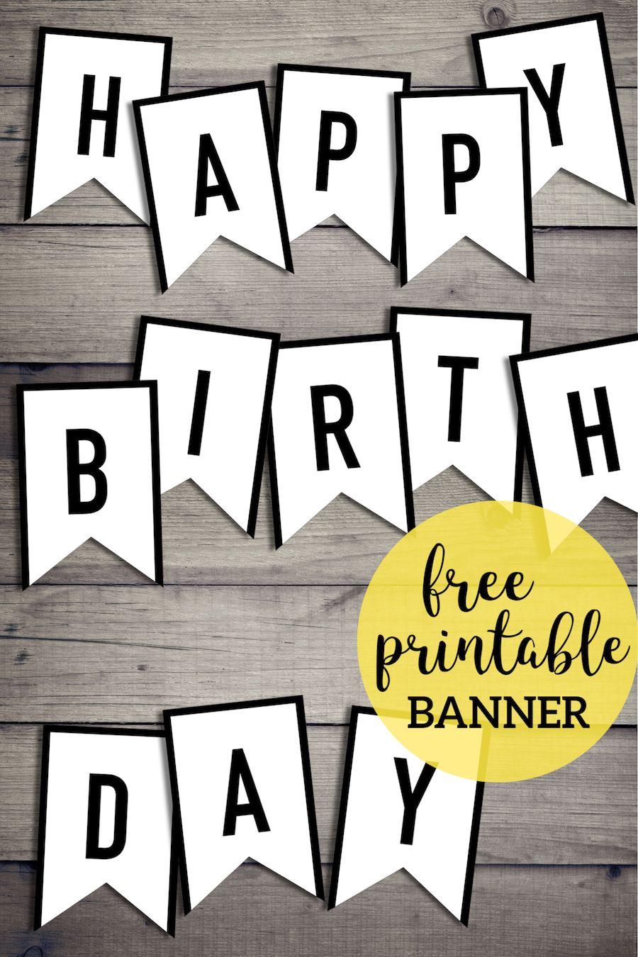 Free Happy Birthday Banner Printable Sign Paper Trail Design Happy Birthday Banner Printable Happy Birthday Banner Printable Free Birthday Banner Free Printable