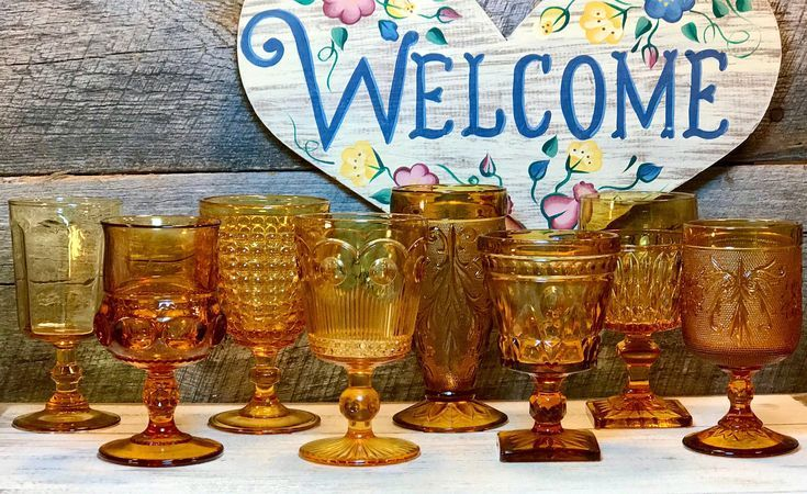 Set of 8 (Eight) Mismatched Amber Colored Vintage Goblets, Thanksgiving Dinner, weddings, rec…