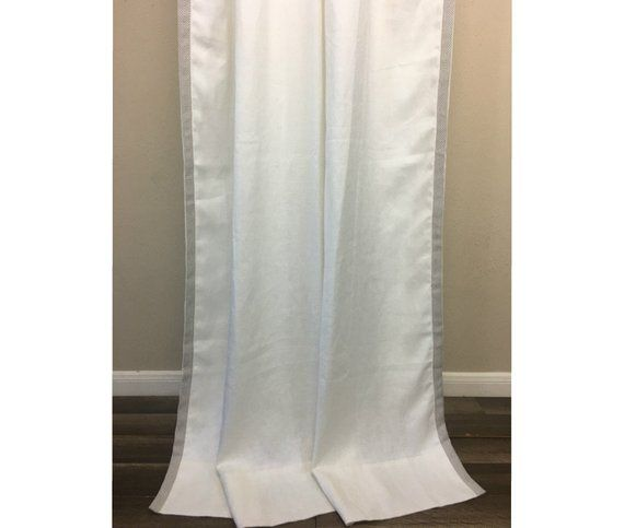 Belgian Linen Curtains White With Trim Liner Canvas Weight Custom Ex