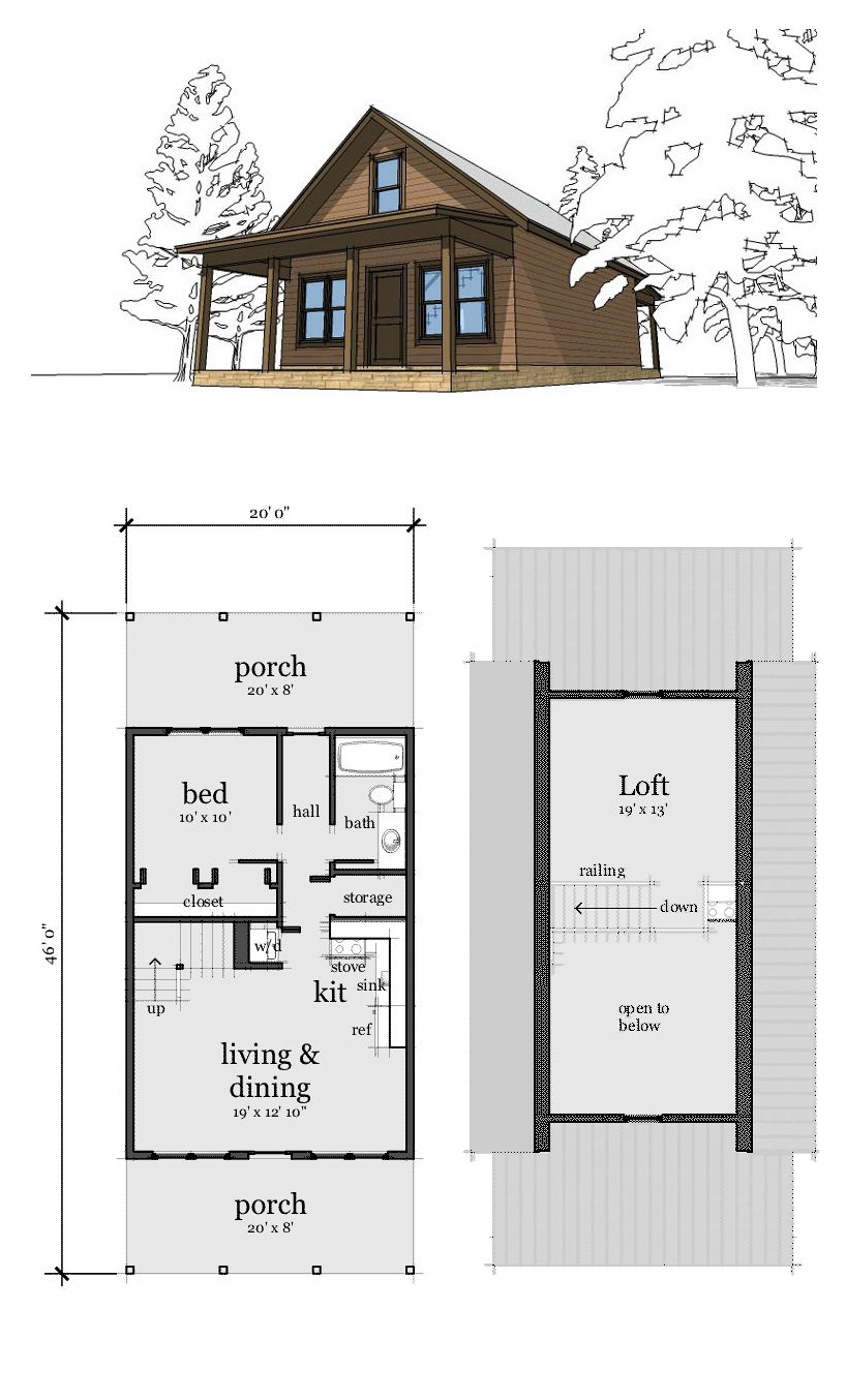 Narrow lot home plan 67535 total living area 860 sq ft for Tiny cabin plans with loft