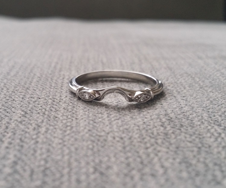 Diamond Halo Wedding Band To Match Hattie Ring Victorian Style Art Deco Edwardian 14k White Gold The By Penellibelle On Etsy: Intertwining Ring Renaissance Wedding At Websimilar.org