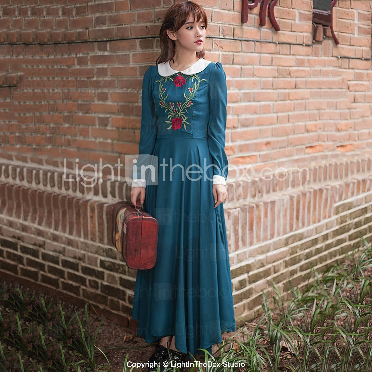 Womens CasualDaily Vintage Swing DressSolid Jacquard Peter Pan