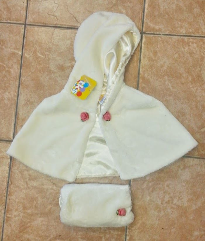 NWT Cream Dressy Girl's Winter 18M Hooded Cape/Shawl with Hand Muff Rosettes #TKS #Jacket #DressyHoliday