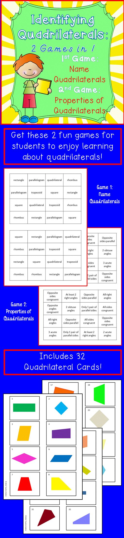 Quadrilaterals: Identifying and properties-geometry - 2 games CCSS 3 ...