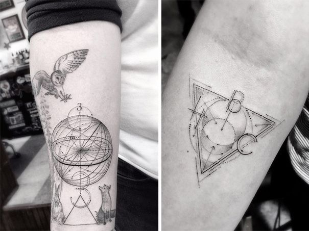 Geometric Tattoos By Dr Woo Who S Been Experimenting With Ink Since He Was 13 Geometric Tattoo Geometric Line Tattoo Tattoos