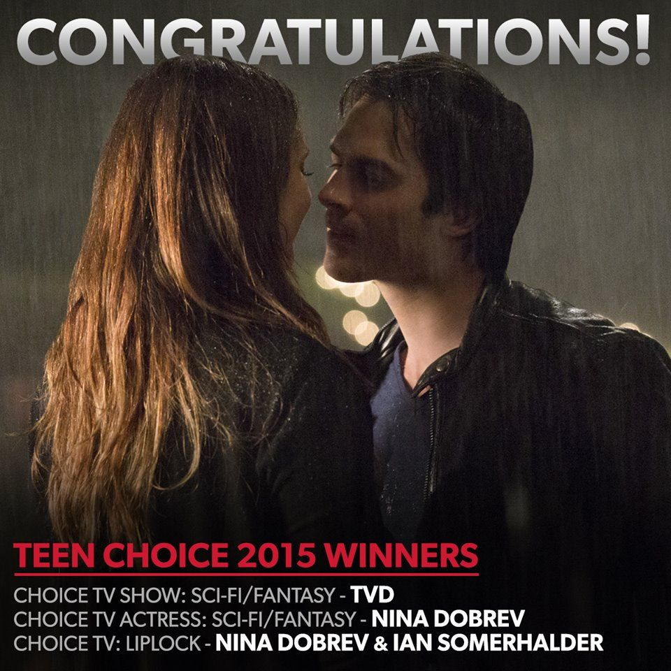 CONGRATULATIONS to #TVD, Nina Dobrev, and Ian Somerhalder for their #TeenChoice 2015 awards!