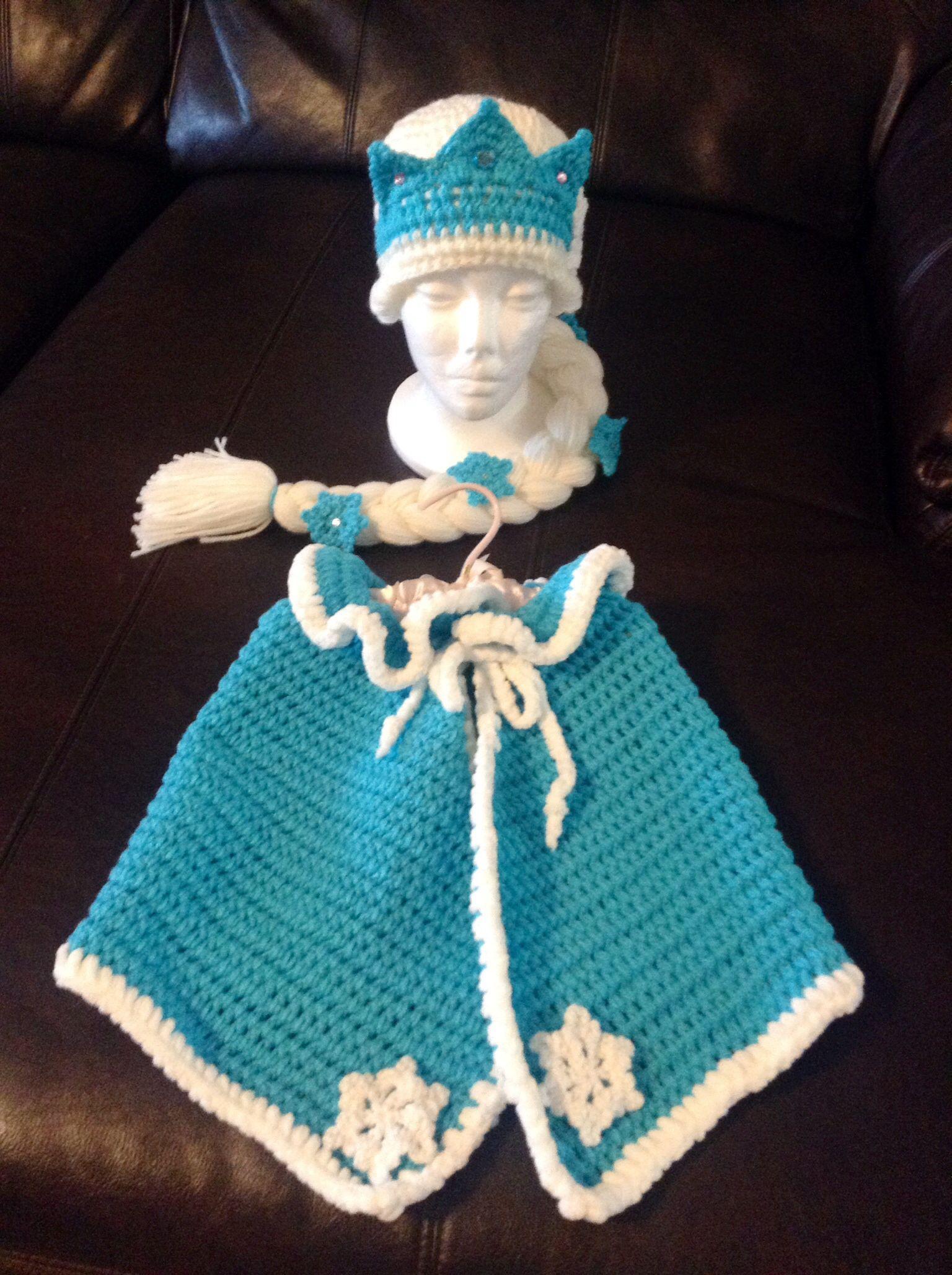 Crochet Baby Elsa Frozen inspired baby outfitphoto prop