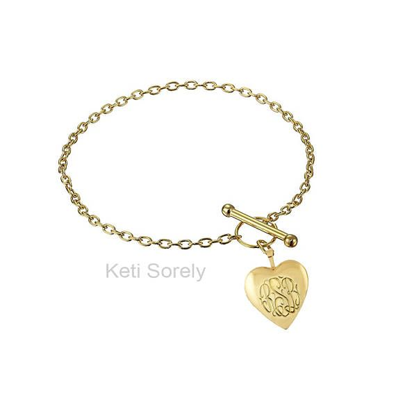 39b90be1c9f33 Monogram Locket Bracelet with Toggle Clasp - Hand Engraved Initials ...