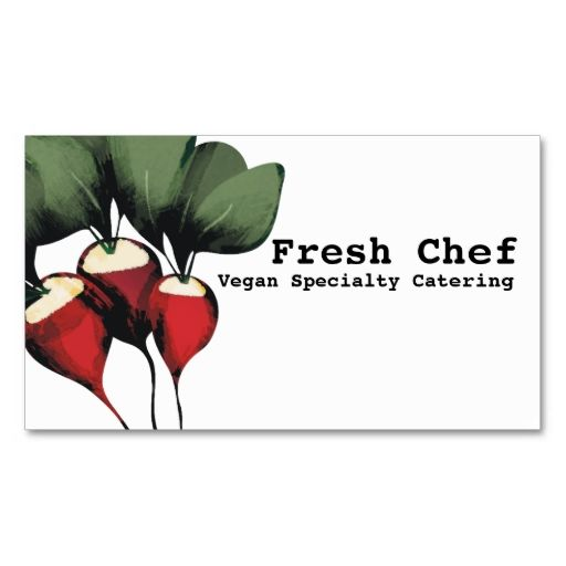 radishes vegetable chef catering business cards. Make your own business card with this great design. All you need is to add your info to this template. Click the image to try it out!