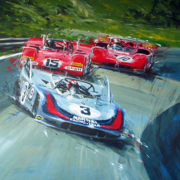 Painting of Vic Elford in his Porsche 908/3 fighting ...