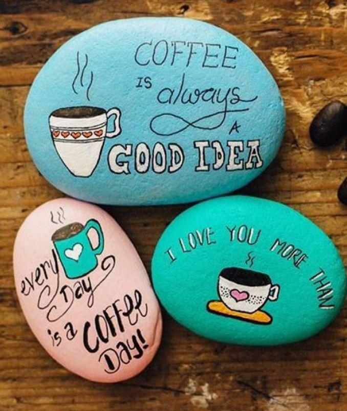 21 Coffee Ideas Coffee Rock Painting Ideas Easy Painted Rocks Diy