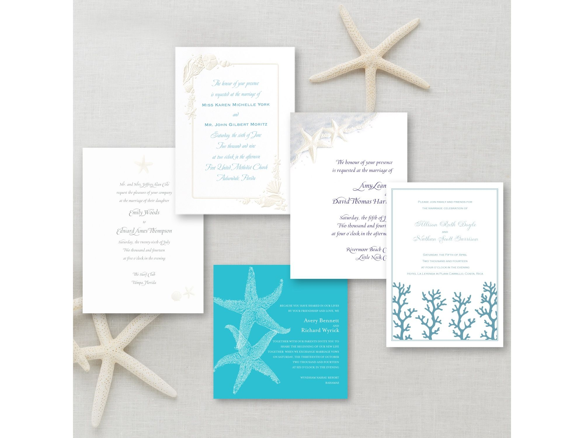 beach themed invitation sample pack exclusivelyweddings