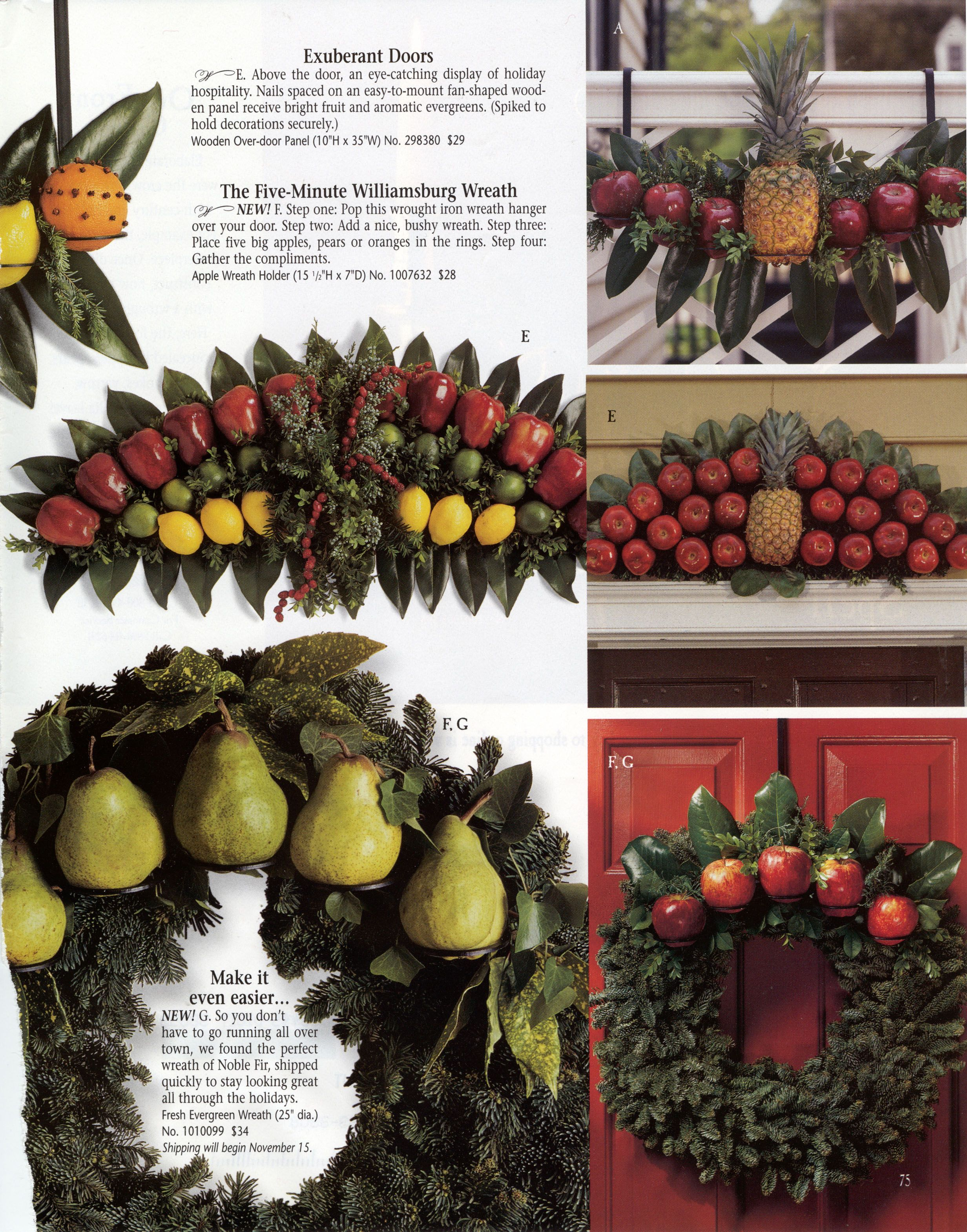 Williamsburg Christmas Decorating Using Fruit Outdoor Home Swags Country