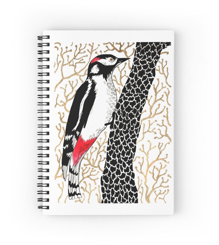"""Woodpecker, forest bird, watercolor & ink sketch"" Spiral Notebooks by ptitsa-tsatsa | Redbubble"