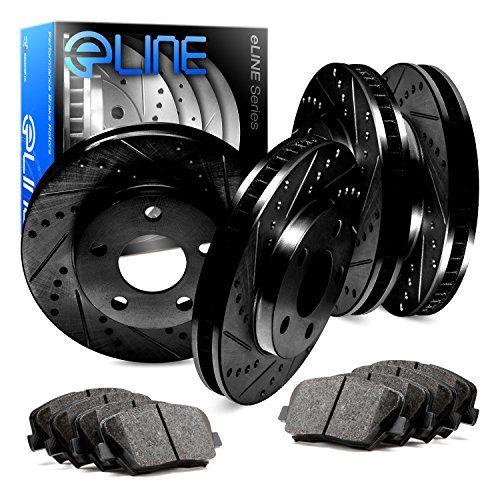 Full Kit Black Drilled Slotted Brake Rotors /& Ceramic Pads Range Rover Sport