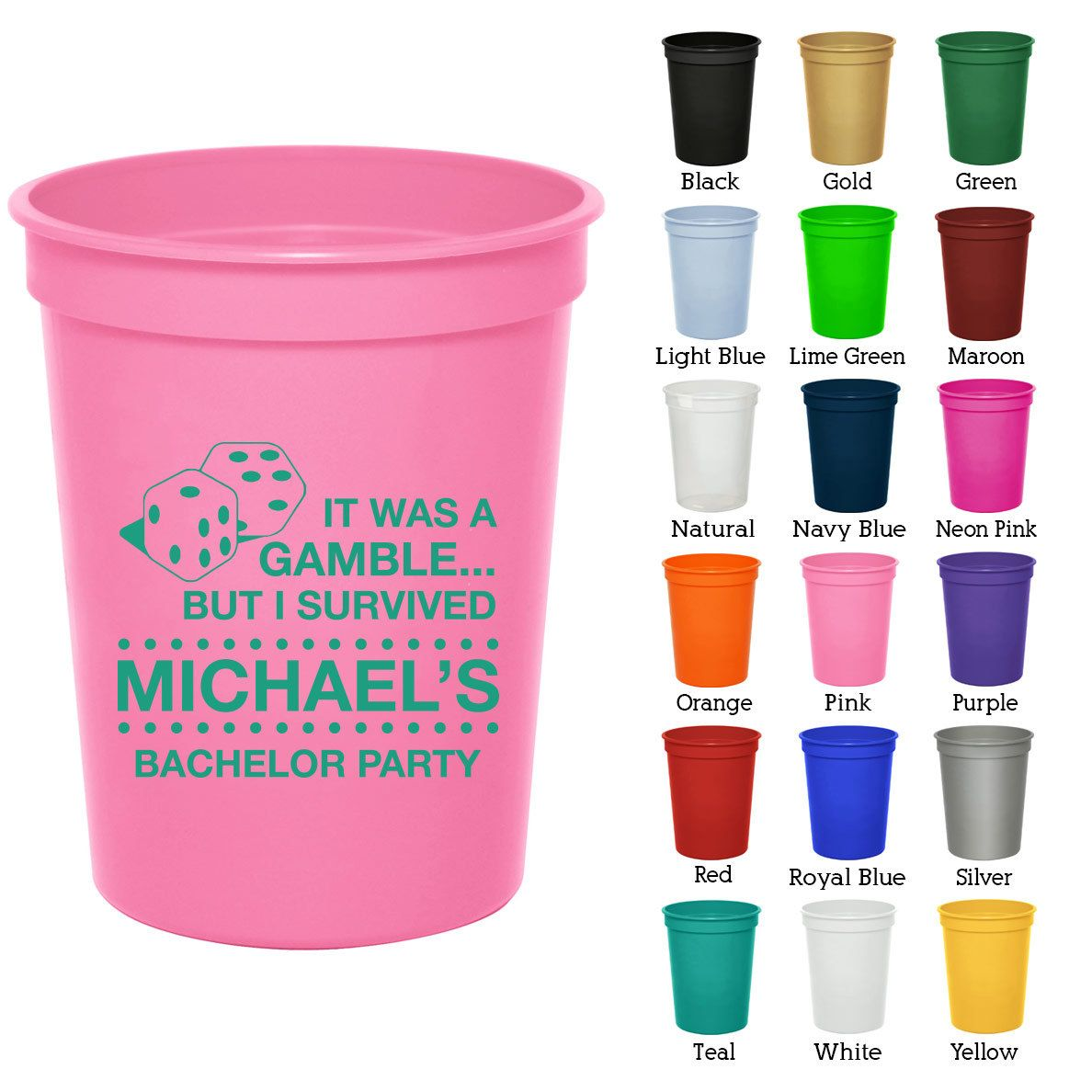 16 oz Bachelor Favor Cups (Clipart 6010) Las Vegas - Bachelorette ...