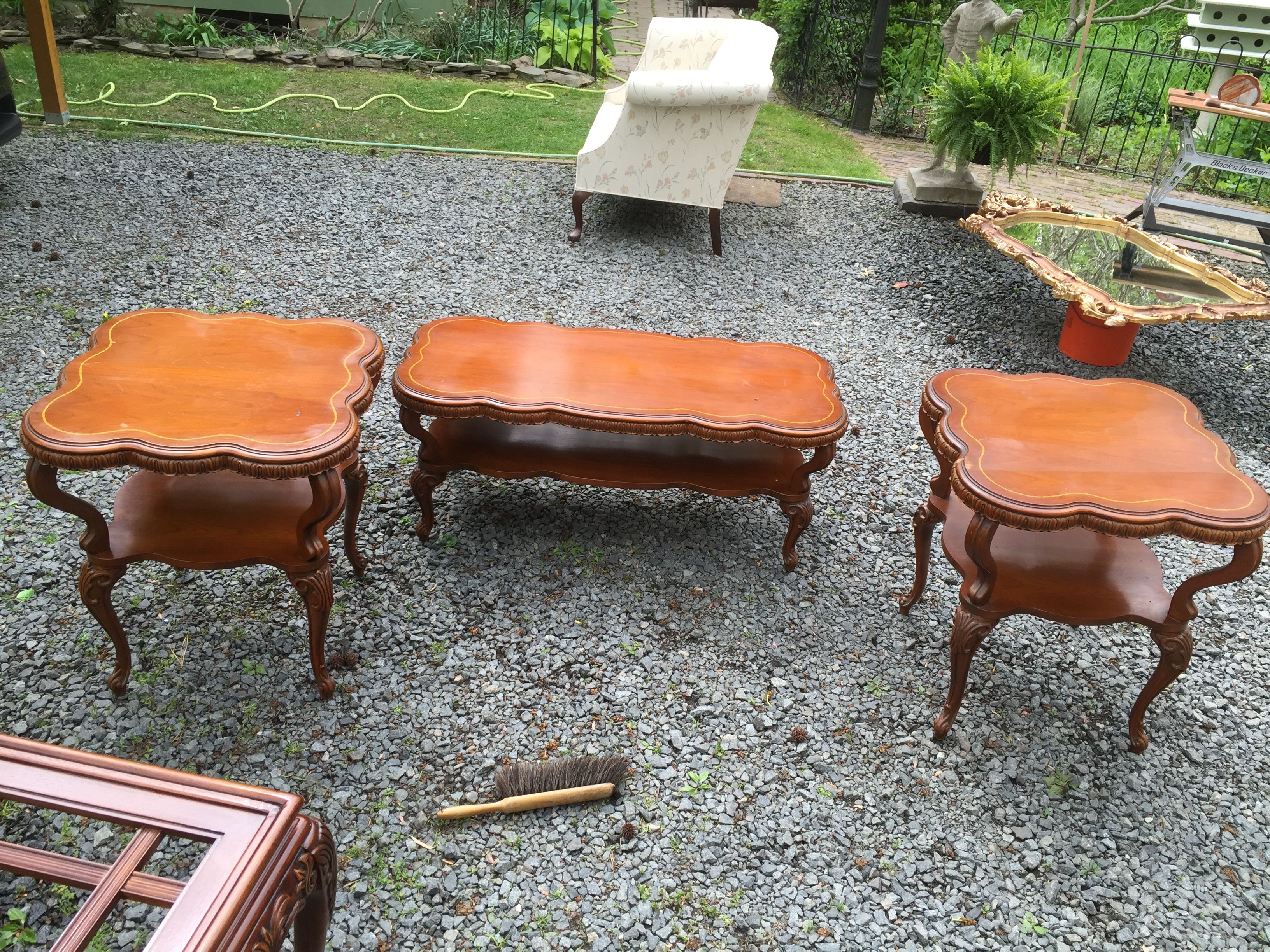 mid cupboard tables end century american provincial coffee furniture tiered set pin pair french made