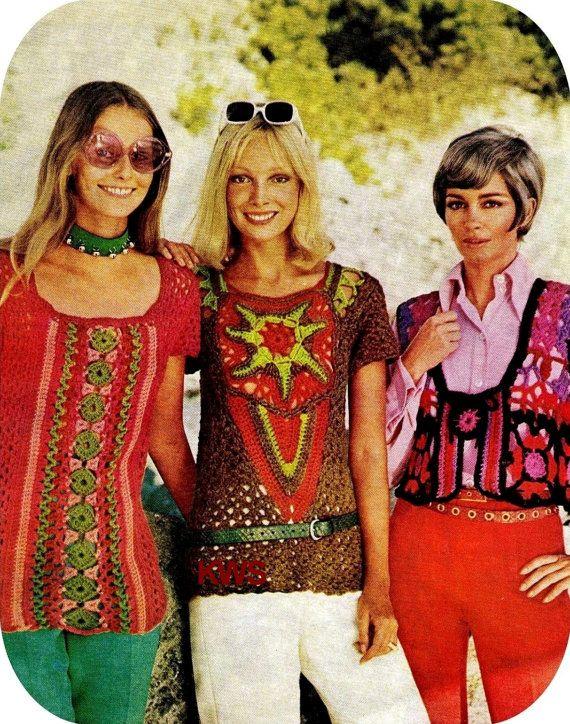 Vintage años 70 Top modelo PDF blusa Retro por KinzieWoolShop