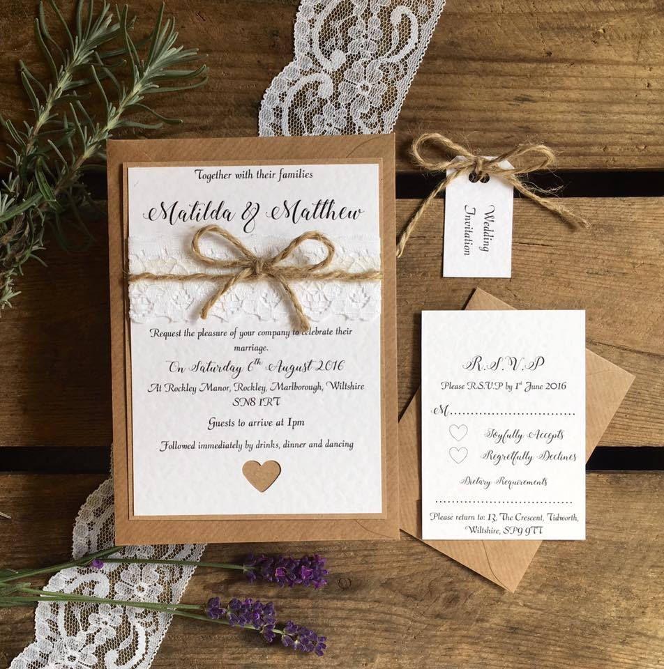 Rustic Wedding Invitation Invite Bundle - Vintage Lace and Twine ...