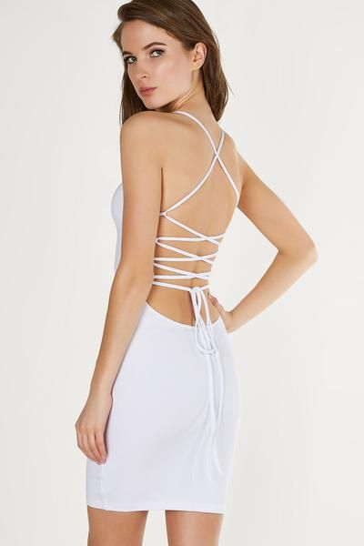Sexy bodycon mini dress with boxy neckline and strappy open back. Stretchy material with straight hem finish.
