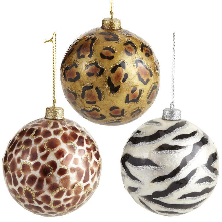 Puttin' on the Glitz: Pier 1 Giraffe, Cheetah and Zebra Capiz Ornaments - Puttin' On The Glitz: Pier 1 Giraffe, Cheetah And Zebra Capiz