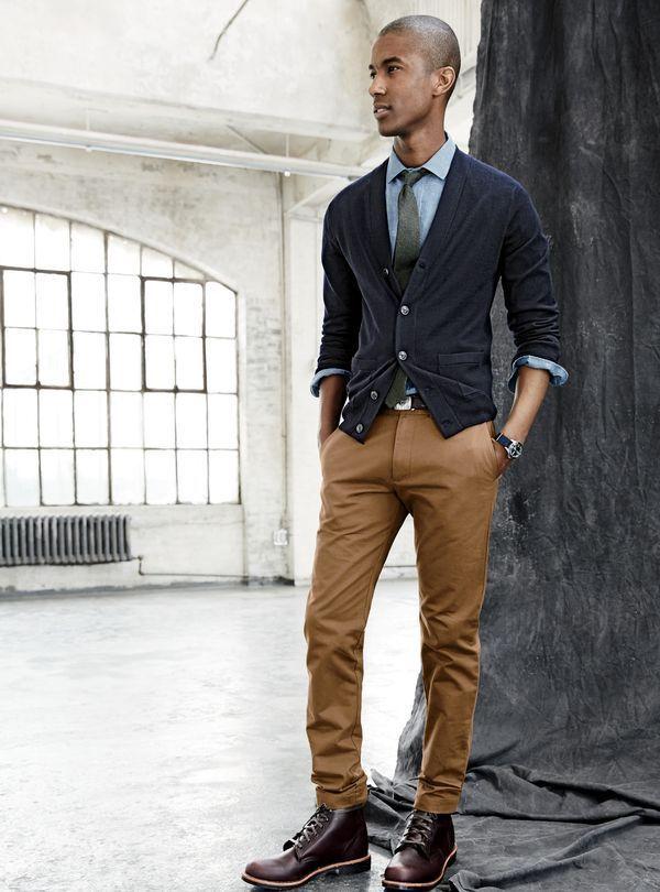 mens black cardigan light blue chambray dress shirt