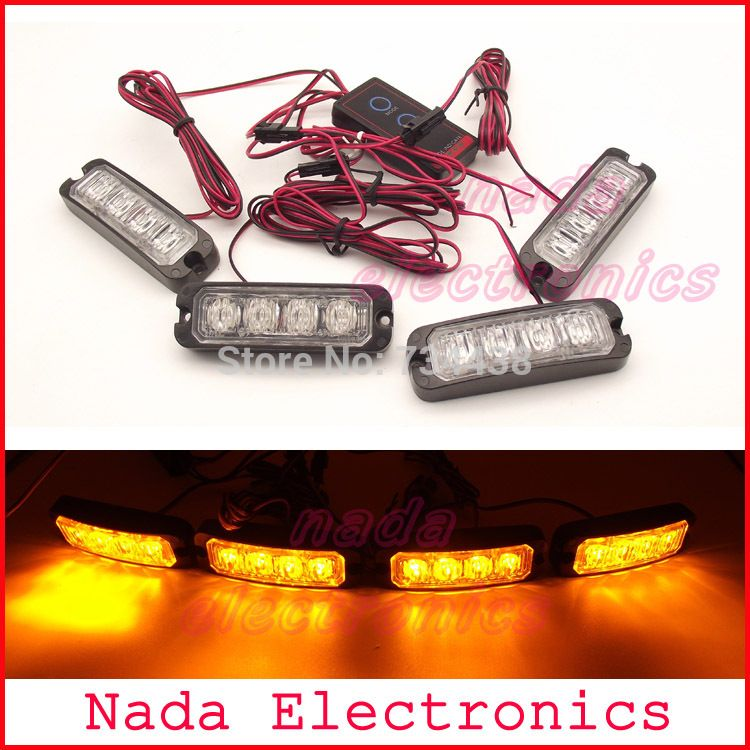 4x4led Strobe Lights 16 Led Police Warning Light Auto Grille Lamp
