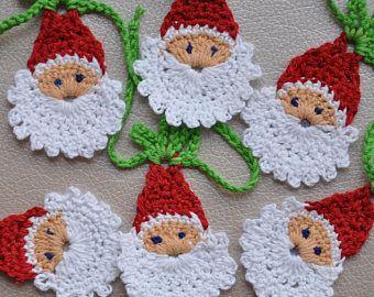 Lot of 5 Santa Claus. Christmas Applique. Ornament  Santa Claus Face. Christmas Decoration. Crochet Ornament. Crochet Santa Claus. New year