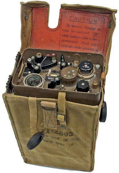 The British made Wireless Set No 46, developed in 1941 for Combined Operations Command, was a portable manpack set primarily designed for communications during beach landings.  The No 46 Set provided R/T or MCW communications over short ranges of 6-10 miles.   The set was waterproof and could be immersed in seawater for up to one minute without becoming inoperable. -