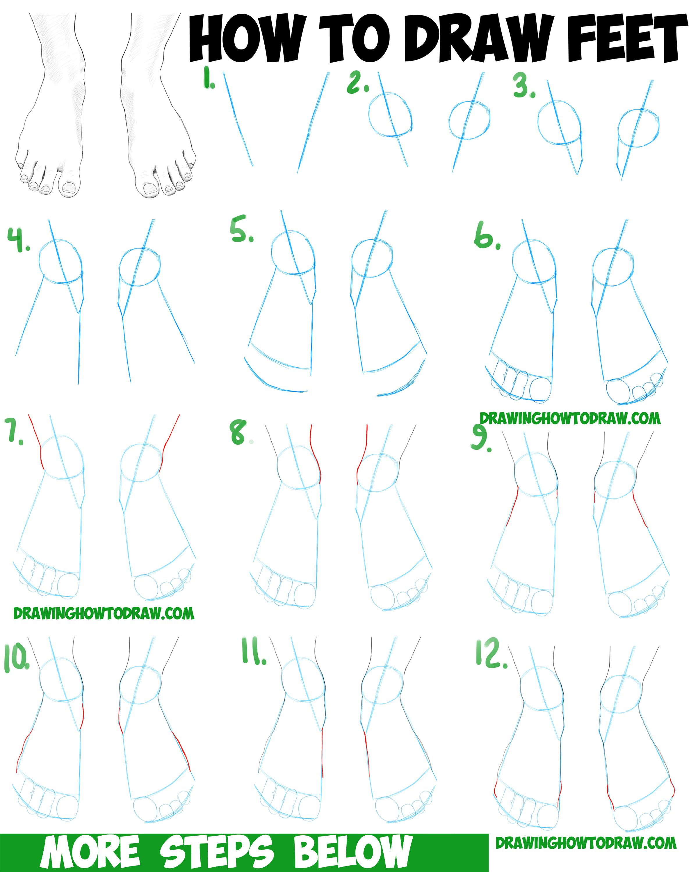 How To Draw Feet The Human Foot With Easy Step By Step Drawing