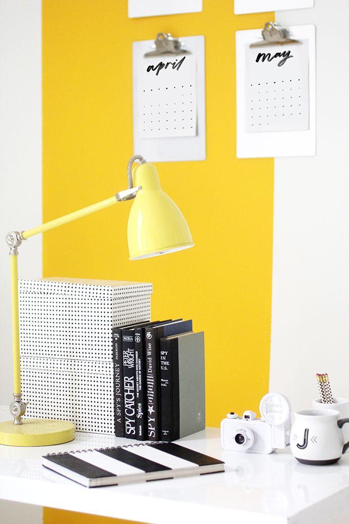 MY WORKSPACE | Yellow Stripe Wall | Craft room ideas | Pinterest ...