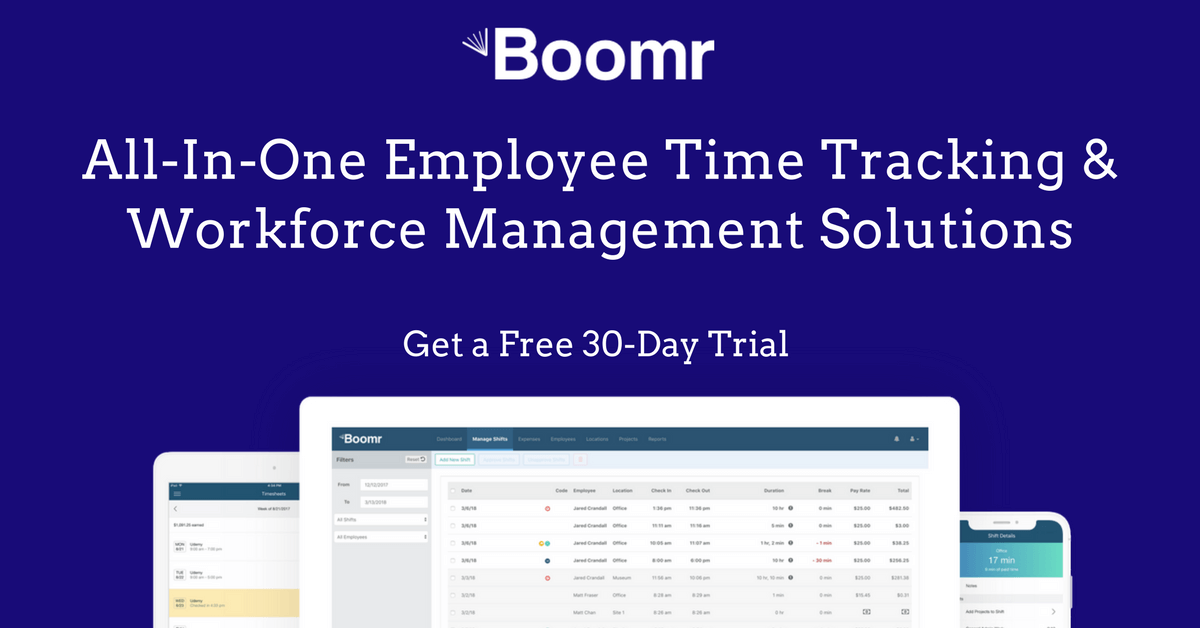 boomr has the best mobile time card app for businesses of all types and sizes - Time Card App Free