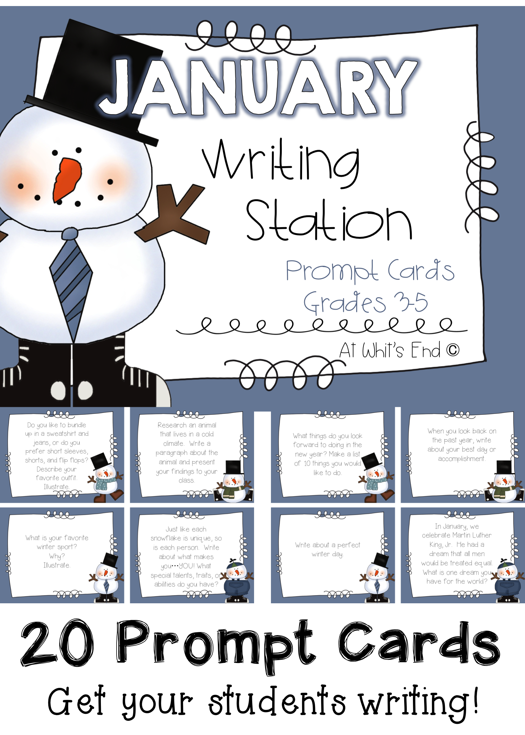 January Writing Station Prompt Cards Printables