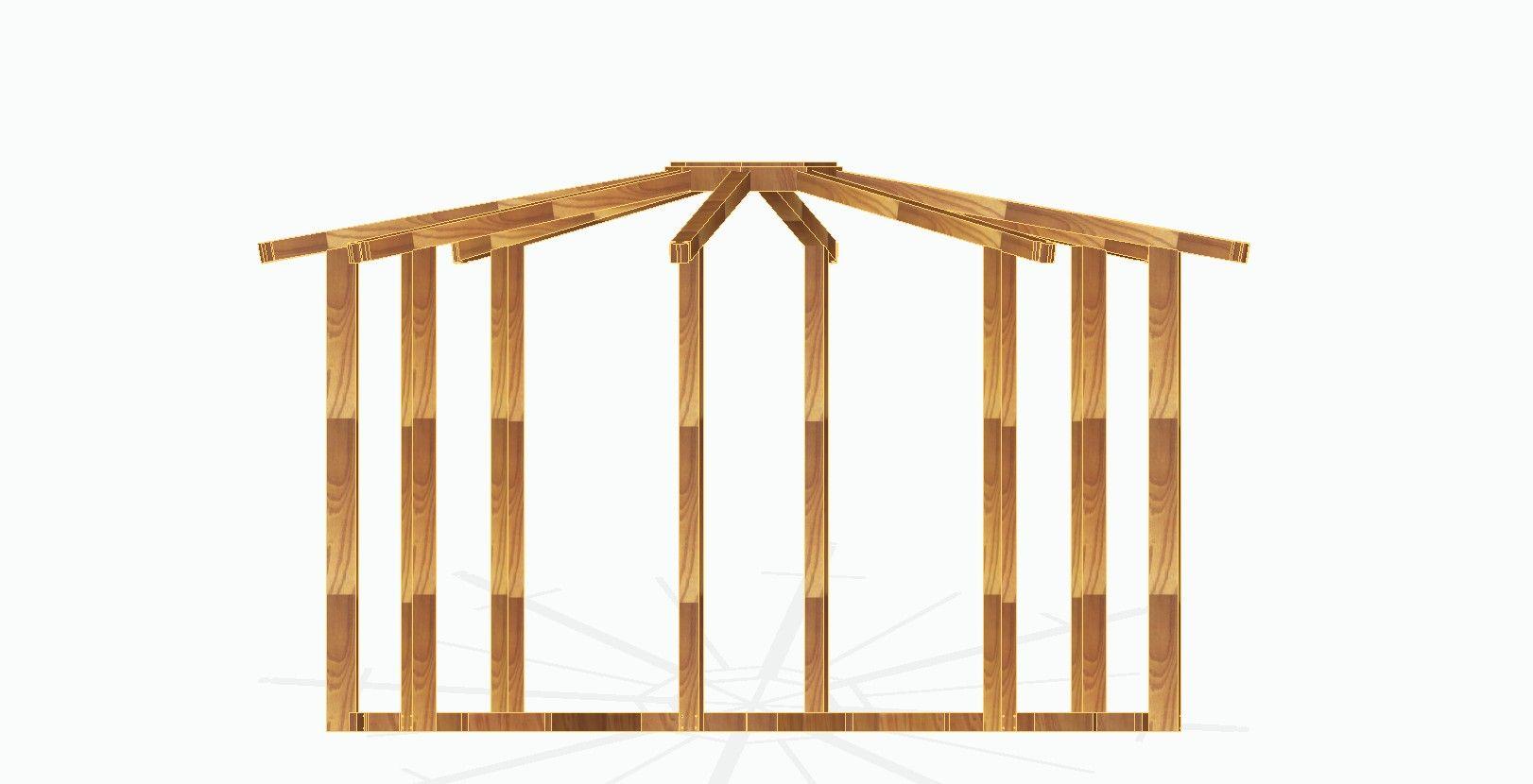 Kiosco octogonal con tejado a 16 aguas de madera kiosco for Tejados de madera a 4 aguas