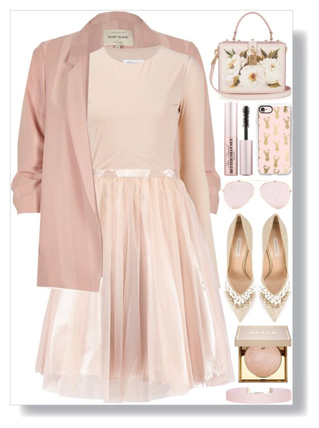 """Blush"" by itsybitsy62 ❤ liked on Polyvore featuring River Island, Maison Margiela, Casadei, Dolce&Gabbana, Casetify, Humble Chic, Stila and Too Faced Cosmetics"