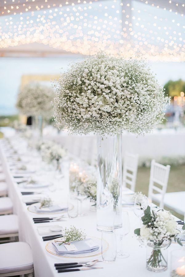 Elegant All Baby S Breath Wedding Strictly Weddings Flower Centerpieces Wedding Wedding Decor Elegant Classy Wedding Decor