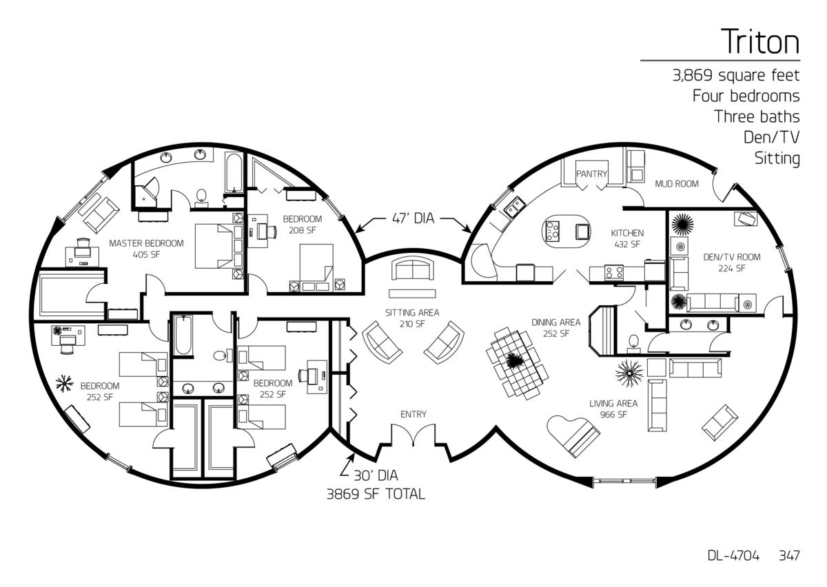 Floor Plan DL 4704 Monolithic Dome Institute Floor Plans