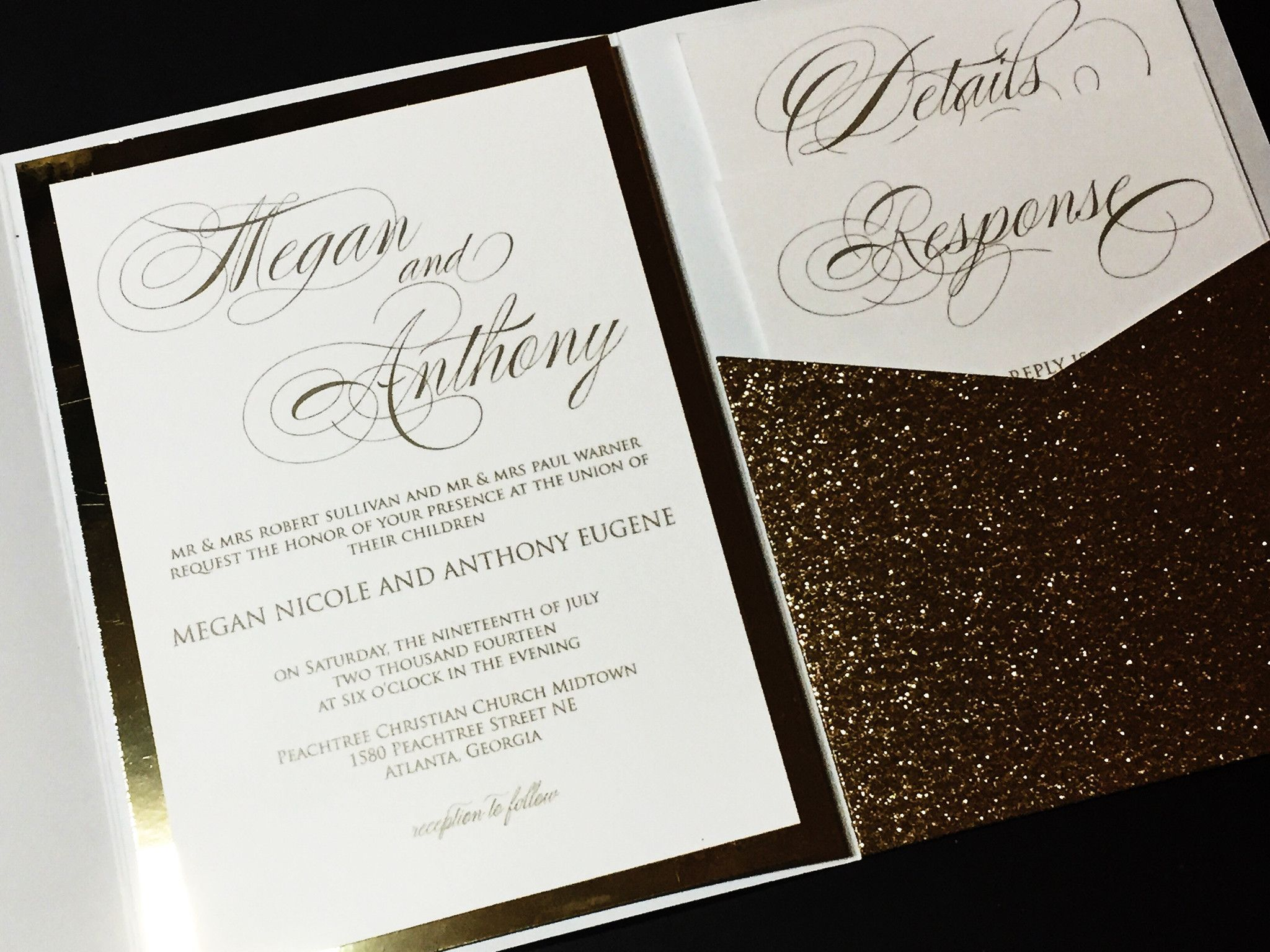 Gold glitter wedding invitation pocketfold wedding invitation gold glitter wedding invitation pocketfold wedding invitation calligraphy wedding invitation megan version glitter pocketfold version stopboris Gallery