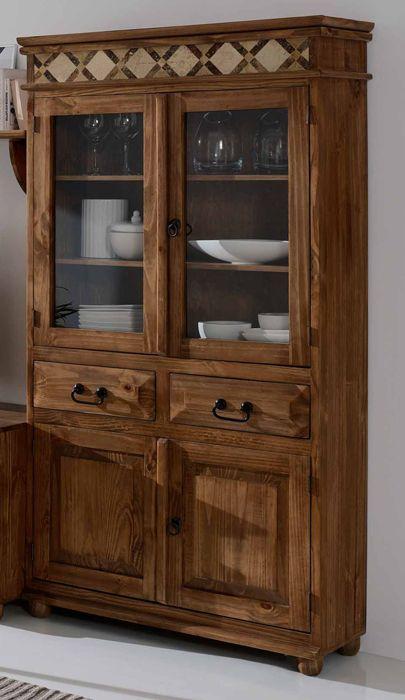 Vitrina r stica con m rmol muebles para ambientes for Muebles rusticos toledo
