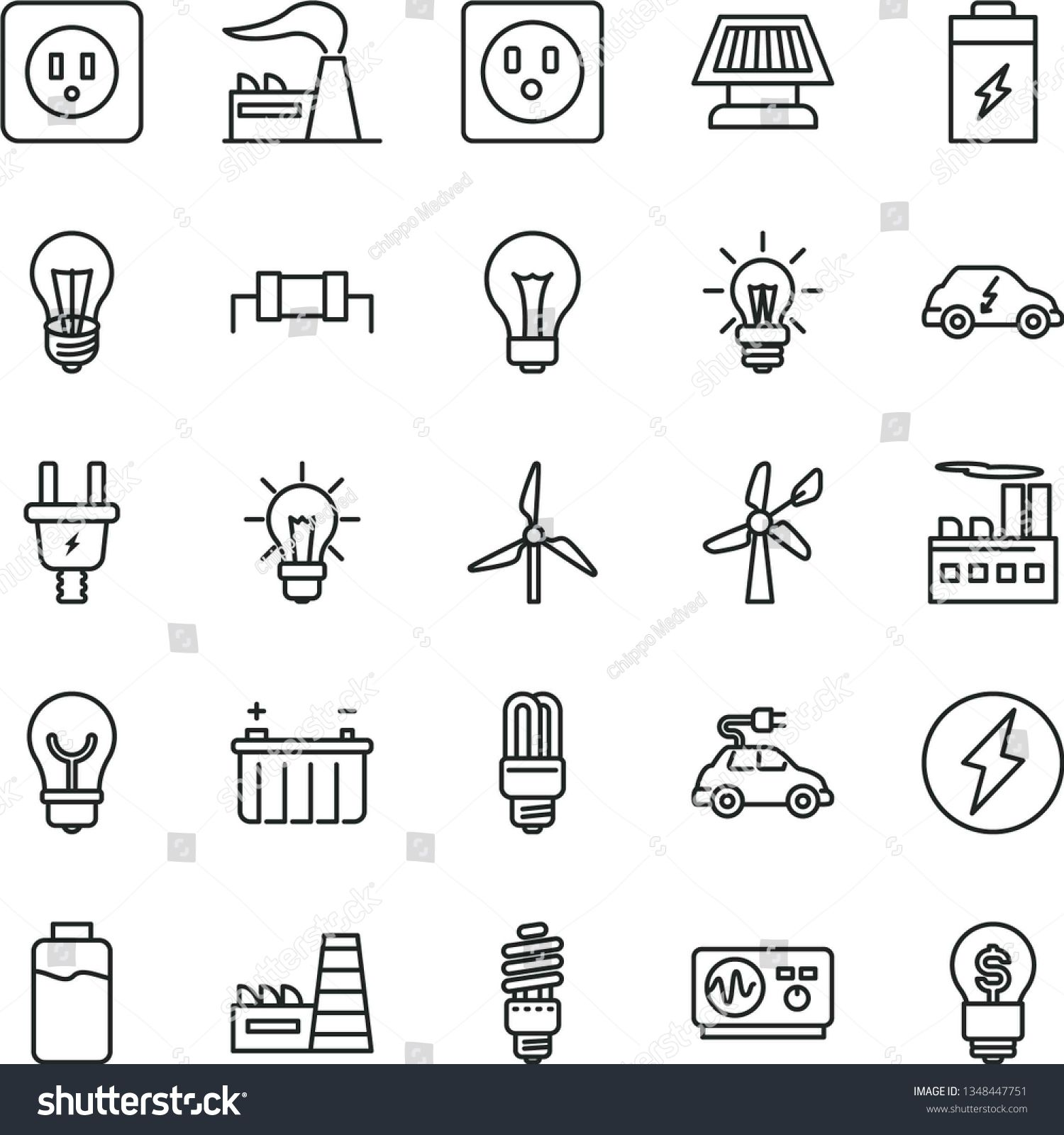 Thin Line Vector Icon Set Matte Light Bulb Vector Power Socket Type B Charge Level Charging Battery In 2020 Digital Illustration Light Bulb Vector Icon Set Vector