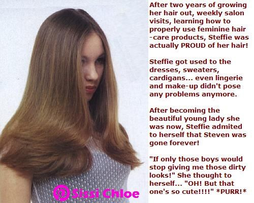 sissy hair dye story sissy steffie has entered the part tg captions hair and