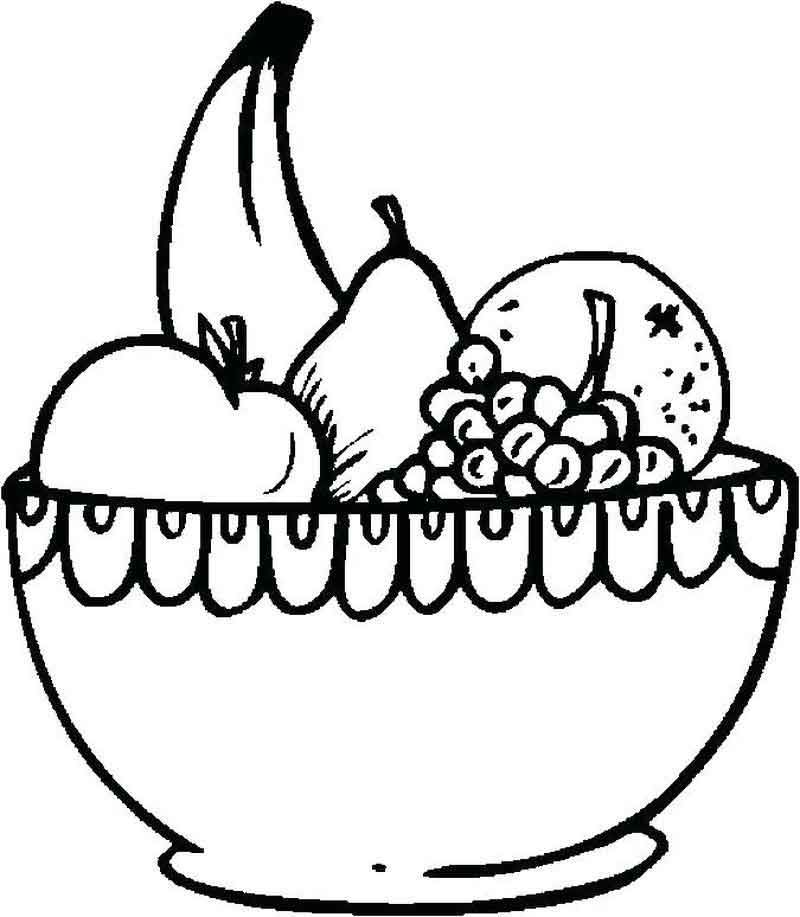Fruit Bowl Coloring Page From Fruits Coloring Pages Category Find